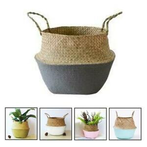 Seagrass Straw Belly Basket Flower Plants Pots Fold Storage Household Garden