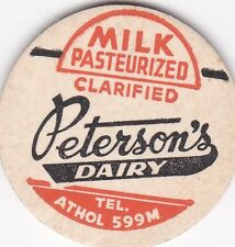 MILK BOTTLE CAP. PETERSON'S DAIRY. ATHOL, MA. REPRODUCTION