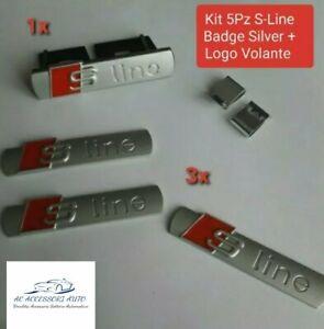 KIT 5 PZ AUDI S-LINE ARGENTO 3D ADESIVO LOGO STEMMA BADGE A1 A3 A4 A5 A6 Q3 Q5