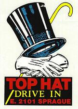 TOP HAT DRIVE IN -E.2101 SPRAGUE-SPOKANE WA-WINDSHIELD DECAL + 1936 MENU replica