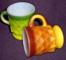 Lot of 2 Fireking Mugs Coffee Cups Yellow Green Kimberly Diamond Anchor Hocking