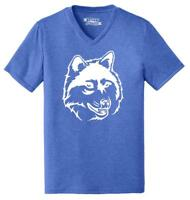 Mens Wolf Face Triblend V-Neck Animal Graphic