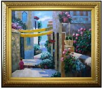 Framed Boy Sitting on Stairway, Quality Hand Painted Oil Painting 20x24in