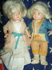 "RARE F&B set Patsyette ""Martha & George Washington"" compo dolls w/bracelet"
