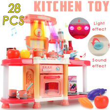 28PCS Kitchen Playset Pretend Play Toy Cooking Role Set Light Sound Effect Gift