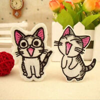1/2Pcs Sweet Twin Cat DIY Embroidery Cloth Iron On Patch Sew Motif Applique LJ