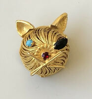 Adorable  vintage cat   brooch Pin  wire gold tone metal