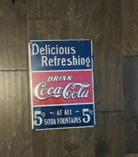 "14"" Coca Cola Coke Vintage  3d cutout retro USA STEEL plate display ad Sign"
