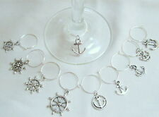 SET OF 10 ANCHOR SHIPS WHEEL NAUTICAL Themed Silver Tone WINE GLASS CHARMS