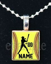 Personalized Custom Name Number Team SOFTBALL Scrabble Tile Necklace or Keychain