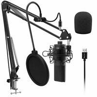 Microphone Condenser USB Mic Arm Shock Mount Studio Recording Vocals Voice PC