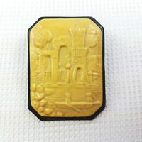 Vintage Celluloid English Castle And Boat Scene Pin Brooch Cameo Style
