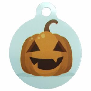 Halloween Sublimation Id Pet Tag Happy Pumpkin 30mm x 32mm personalised