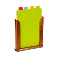 Chopping Boards Set Of 4 Green Yellow Blue  Red With Wood Stand Home Office New