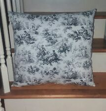 """TOILE Throw Pillow Large Cushion Approx. 19"""" X 19"""" Blue Country French Chickens"""