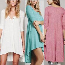 Damen Freizeit Lose Hemdkleid Kleid Longshirt Tunika Hemdbluse Strandkleider DE