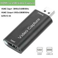 Mini HDMI to USB 2.0 Video Capture Card Game Recording Box Grabber For Computer