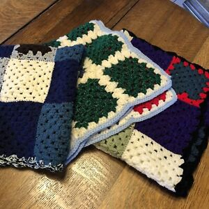 Lot Of 3 Afghan Crochet Knit Granny Square Stitch Baby Lap Blankets 28×28 🦋🦋🦋