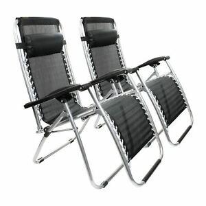 2 x Zero Gravity Folding Sun Lounger Chair Recliner Garden Deck Reclining Black
