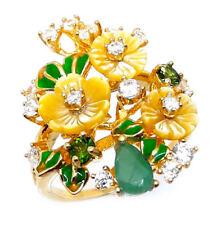925 Sterling Silber Ring Gelbgold beschichtet, Smaragd & Perlmutter Blumen, Neu