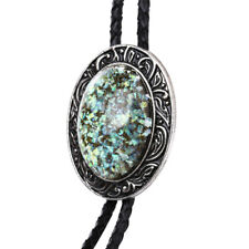 Hobit Opal Stone Mens Bolo Tie Wedding Necklace PU Leather Rope Western Cowboy