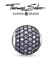 Genuine THOMAS SABO 925 silver WILD ORCHID PURPLE Karma charm bead RRP £89