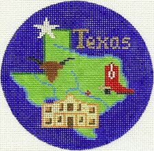 """AFRICA Kilimanjaro handpainted 4.25/"""" Rd Needlepoint Ornament by Silver Needle"""