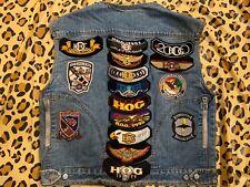 Vintage Denim Harley Davidson Vest with patches - size medium