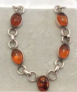 Beautiful Vintage Sterling Silver Open Set Baltic Amber Cabochon Link Necklace