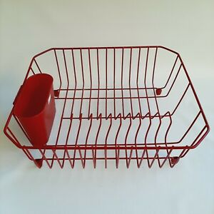 Vintage Rubbermaid Coated Wire Red Dish Drainer Drying Rack w/Utensil Cup