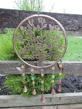 Hand Carved Made Metal Tree Of Life Butterfly Bells Mobile Wind Chime Windchime