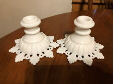 Lovely Pair Of Vintage Westmoreland Milk Glass Ring and Petal Candle Holders