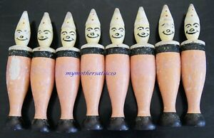 8 x Vintage 1960s Wooden Skittles with painted clown faces
