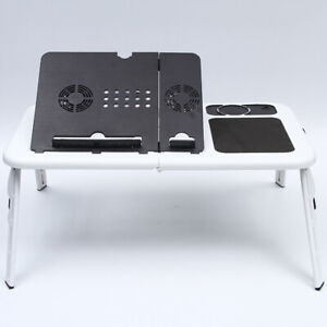 Adjustable Foldable Computer Laptop Table USB Cooling Fan Multifunction Desk Bed
