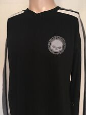 HARLEY DAVIDSON SKULL GRAPHIC LONG SLEEVE V NECK Black STRIPED SLEEVES 2XL