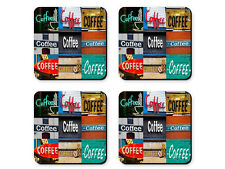 Personalized Coasters featuring the word COFFEE in sign photos - Set of 4