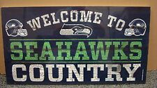 """SEATTLE SEAHAWKS WELCOME TO SEAHAWKS COUNTRY WOOD SIGN 13""""X24'' NEW WINCRAFT"""