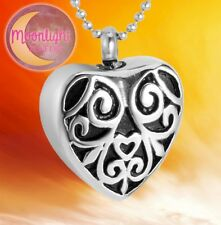 Keepsake Ash Silver Memorial Necklace New Flower Vines Heart Cremation Urn