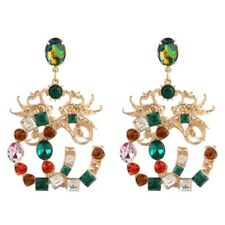 AMAZING MAJOR DESIGNER STYLE RUBY EMERALD TOPAZ DRAGON STATEMENT GOLD EARRINGS