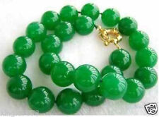 "Beautiful Natural 8mm Green Jade Round Gemstone Beads Necklace 18"" AAA"