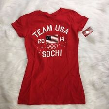 Team USA 2014 Sochi Olympics Womens L Red Flag Short Sleeve T Shirt NWT