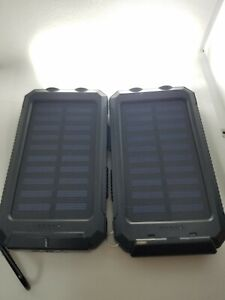 2Pack  Solar Power Bank LED Dual USB Backup Battery Charger For Mobile Phone