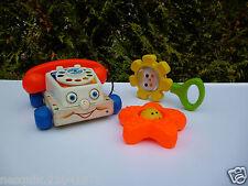 🍓 Lot 3 Jouets Fisher Price : Le Téléphone, Le Hochet Fleur Et L'étoile De Mer.