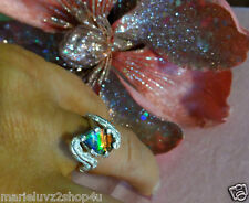 NEW CYBER SALE STERLING SILVER BYPASS FEATHER AND AMMOLITE RING SZ 7  FREE SHIP