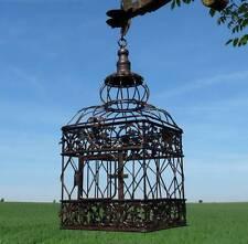 style ancienne petite cage a oiseaux de decoration fer 35cm carrée a suspendre