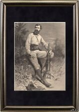 Antique matted print portrait Verney Lovett Cameron Africa 1878