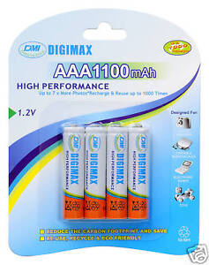 DIGIMAX*4 x 1100 MAH AAA RECHARGEABLE BATTERIES + CASE