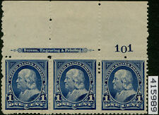 #247 Plate Str/3 Vf-Xf Og (2)Nh (1)Lh With Pfc Cv $445.00 Bp5180