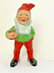 "VTG HEISSNER Gnome Terra Cotta Germany Christmas Putz Garden Gnome Figurine 11"""