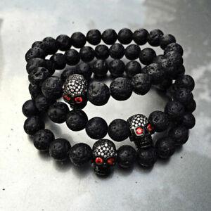 Hot Luxury Mens Micro Inlay Zircon Skull Lava Stone Bead Charm  8mm Bracelets